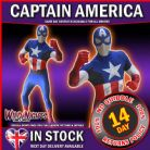 "MENS CAPTAIN AMERICA ZAPPER MORPHSUIT SUPERHERO FANCY DRESS COSTUME X LARGE 5' 10"" TO 6' 3"" HEIGHT"
